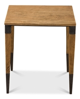 rectangle light blond wood side accent table tapered legs hammered metal