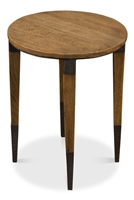 round light blond wood side accent table tapered legs hammered metal