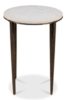 round table small white marble hammered legs metal tapered