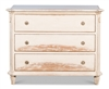 distressed off-white chest 3-drawers dental molding angled corners medallion ring pulls fluting