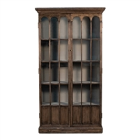 tall bookcase antiqued brown arched glass doors 5 fixed shelves