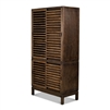 reclaimed pine wood brown finish sliding shutter doors shelves bookcase display unit