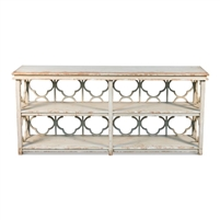 long console table bookshelf quatrefoil distressed white