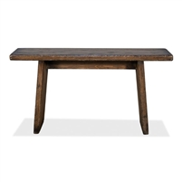 console hall table thick planks beams brown