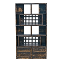 reclaimed pine wood antiqued black distressed open bookshelf unit drawers grid boxes