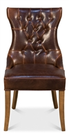brown leather tufted upholstered dining chair wood legs