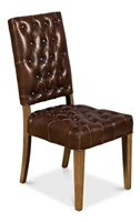contemporary dark brown leather tufted dining side chair wood legs