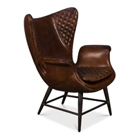 brown wing cigar chair leather quilted