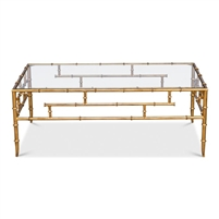 rectangle glass coffee table gold faux bamboo