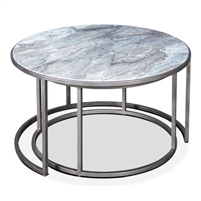 set 2 round nesting coffee tables gray marble antiqued silver iron base