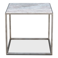 iron marble side table silver