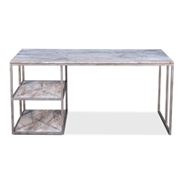 marble grey taupe desk top two shelves silver iron base