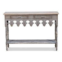 console hall table wood gray natural top 2 drawers lower shelf carved apron