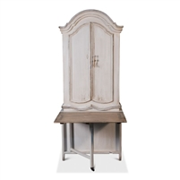 secretary desk fold up/down table crown molding arched adjustable shelves cabinets distressed white