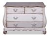 distressed white 4-drawer chest natural wood top curvy