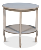 distressed light gray side table lower shelf oval