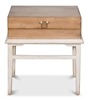 natural wood box side table light gray distressed stand