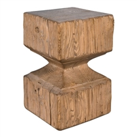 reclaimed pine beam stool natural finish hourglass shape