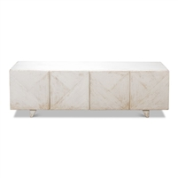 white distressed media cabinet, rustic white TV console, contemporary white media cabinet
