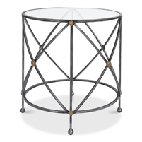 round accent side end table glass top iron base old iron gray brass detail