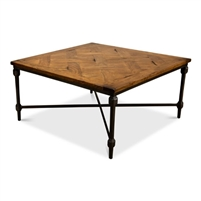 square coffee table parquet wood top gunmetal iron base X-stretcher