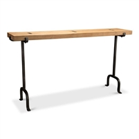 console table acacia wood planks lion skin finish iron base