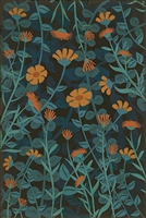 vinyl floor mat aqua orange floral