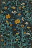 vinyl floor mat wildflowers blue yellow