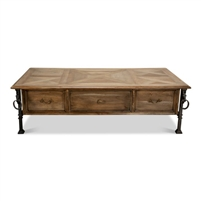 rectangle parquet wood coffee table black iron base horses rings drawers bleached tan