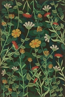 vinyl floor mat wildflowers green yellow