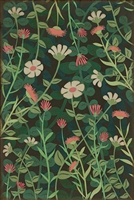 vinyl floor mat wildflowers green pink