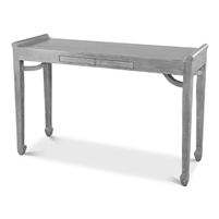 console table gray wood Eastern influence two push drawers