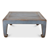 square blue coffee table distressed Asian style