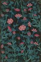 vinyl floor mat wildflowers blue pink