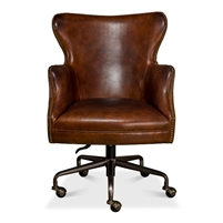 brown cigar leather wingback desk chair swivel casters