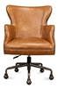 brown leather wing desk chair casters