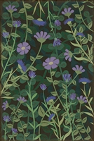 vinyl floor mat wildflowers purple green