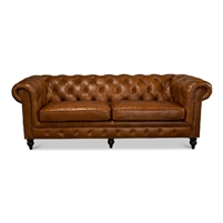 brown leather diamond tufting rolled arms Chesterfield sofa