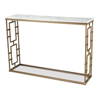 console table sofa table gold iron gate base white marble grey veins