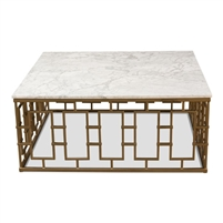 square coffee table contemporary white marble top gate-like iron frame