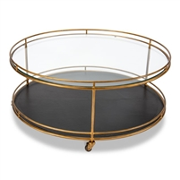 round coffee table glass black leather gold embossed casters