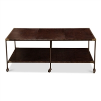 rectangle coffee table two tier casters iron frame brass finish nailheads