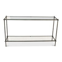 console table chiseled iron frame two glass shelves