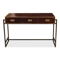 brown leather brass 3-drawer desk iron frame