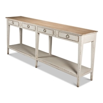 wide wood console table natural top distressed white base lower shelf four drawers six legs