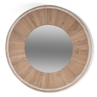 small circle mirror pine glass