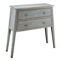 pine wood distressed light gray console table two drawers splayed legs