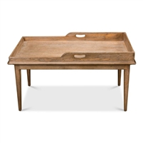 rectangle coffee table pine wood natural finish tray