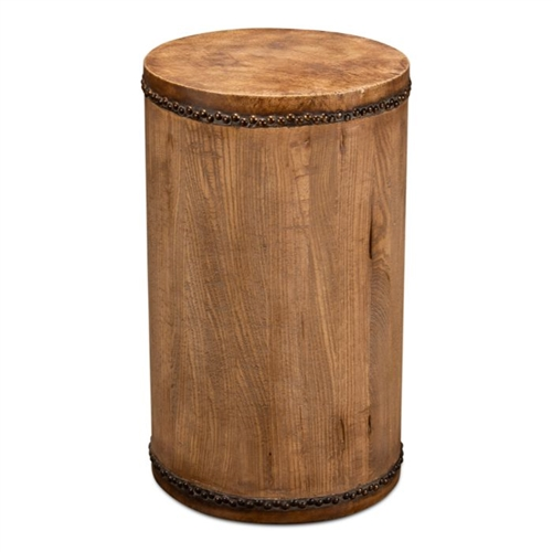 round wood drum table leather top