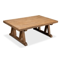 rectangle coffee table pine wood natural finish farmhouse